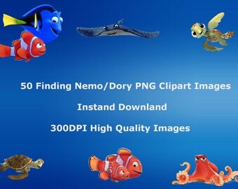 50 Finding Nemo/Dory PNG Clip Art images, Instant Download, Scrapbook Party