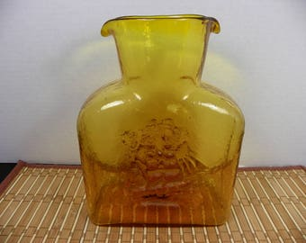 Vintage Kanawha Amber Glass Pitcher Decanter Nautical Sailboat Tall Ship (FREE SHIPPING)