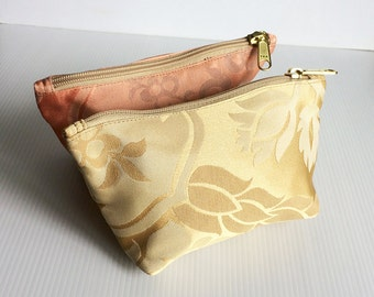 Set of 2 Floral Chinese Zipper Pouches, Cosmetic Bag, Pouch Tutoial, Small Makeup Bag, Zip Bag, Zipper Pencil, lady accessories, gift