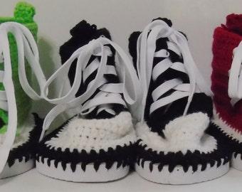 High Top Sneaker Crocheted Slipper- Bootie