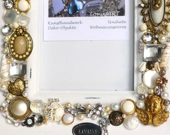 Picture frame, vintage jewelled picture frame, upcycled frame handmade, button art picture frame, photo gift, jeweled craft, wedding favor