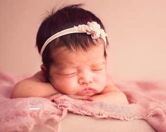 Tiny Flower Headband, Delicate Newborn Headband, Shabby Chic Photo Prop, Dainty Newborn Halo, One Size Headband, Rose Crown