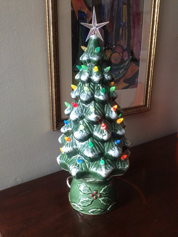 Large Green Ceramic Snow Capped Light-Up Christmas Tree 18""