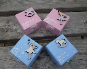 BABY'S FIRST... Personalised tooth and curl fairy boxes. Hand-painted and decorated. Ideal memento to treasure.
