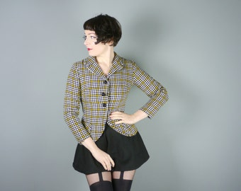 HOUNDSTOOTH fitted jacket by Neusteters in black yellow and cream fine CHECK pattern - tweedy 60s 70s blazer jacket - S