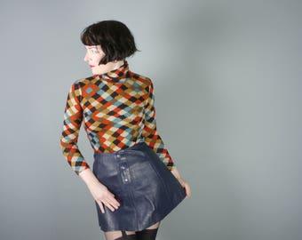 "60s 70s real LEATHER mini skirt with button detail - dark navy BLUE - vintage mod gogo mini xs / w:26"""