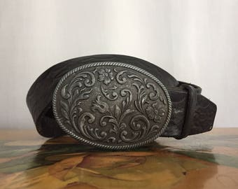 Black Leather Belt Stamped Distressed Southwestern Vintage Women's Medium or Large