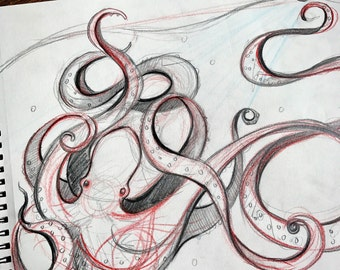 The Kraken ORIGINAL Concept Sketch 9x12""