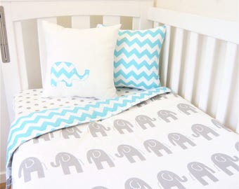 Grey and aqua blue chevron, elephant nursery set items