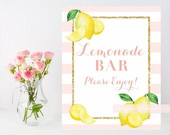 Printable shower sign, wedding sign, 8x10 Lemonade Bar Sign, glitter and stripes, blush and gold, printable lemonade bar