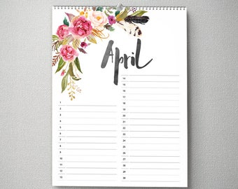 Perpetual Birthday Calendar, 11x14, Calendar, cal0048