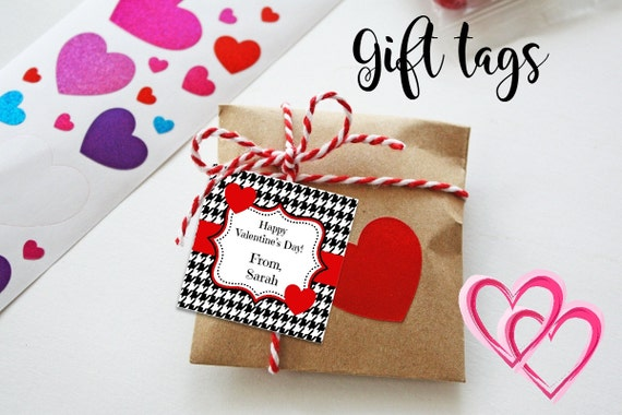 Valentine Gift Tags - Printable - Valentine's Tags - Houndstooth - Gift Tags