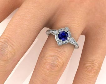 Edwardian style engagement rings, Custom made Blue Sapphire and diamond ring