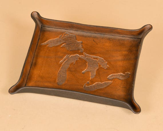 Tray with Michigan Great Lakes Carving