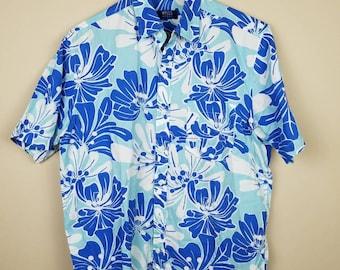 Vintage mens button down Hawaiian shirt blue 40cm