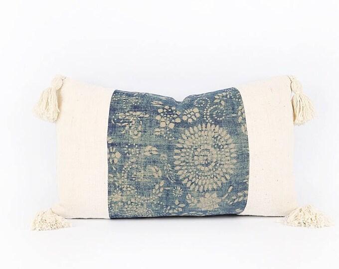 Indigo Chinese Batik, African Mudcloth Textile And Tassel Lumbar Pillow Cover 12x20