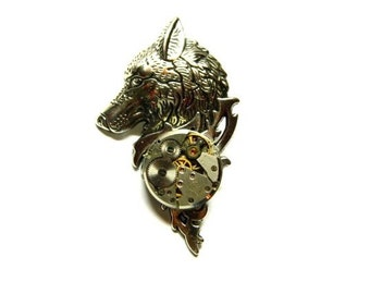 Wolf head brooch, Steampunk boutonniere, wedding silver dog lapel pin, hat, cravat, stick, unique mens birthday gift, wife, daughter, sister