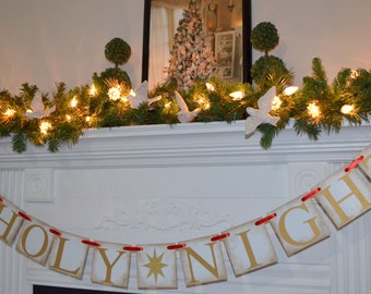 O Holy night banner, Christmas mantle sign, Rustic Christmas sign, Rustic Christmas banner