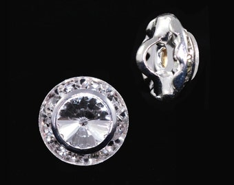 11mm Rondel Button with Crystal Rivoli Center - 11790/11mm