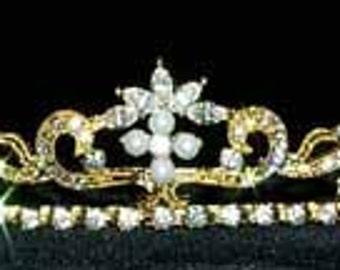 Dainty Swirl Pearl Tiara - #11109G Gold Plated