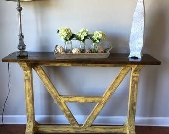 Destressed yellow Farmhouse Architectural English Style Bar Table