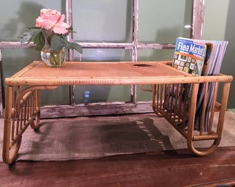 Vintage Bamboo Breakfast Serving Tray With Magazine/Newspaper Holder