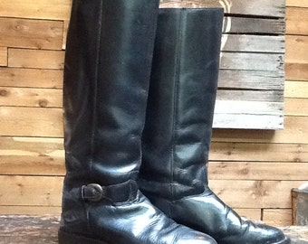 Vintage Riding Boots VTG Black Leather Tall Knee High Boots Women's Size 7