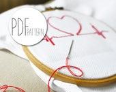 Modern cross stich pattern heart HEARTBEAT love valentines cross stitch design, hand embroidery in the hoop wall art, xstitch xstich love