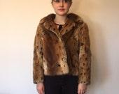 50s 60s Fur Jacket Coat Size S M