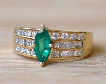 Marquise Emerald and Diamond Ring - Emerald Engagement Ring - Size 6 Ring - Diamond and Emerald Ring - Vintage May Birthstone Ring