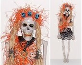 Skeleton Goth Art Doll Day Of The Dead Doll All Year Round Diva Skull Head Skeleton Doll EerieBeth Skeleton Goth Mona Halloween Girl Doll