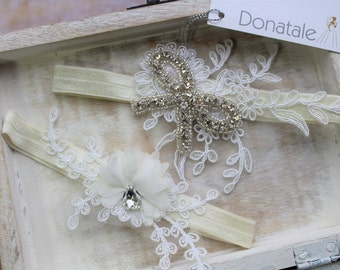 JULIET - Bridal Garter Set  Wedding Garter Bow Crystal Garter Lace Garter Set Lace Wedding Garter  Wedding Accessories Vintage Whimsical