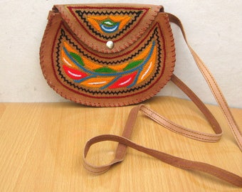 Purse /colorful purse / sling bag/ embroidered purse/ leather bag/ cross body purse/  gift item.