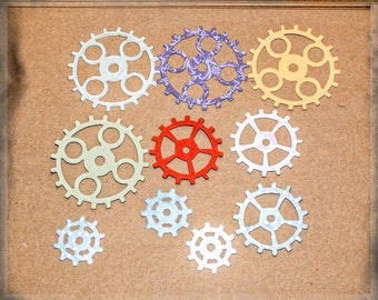 20 Steampunk coloured and metallic card gears cogs die cuts Sizzix 7.5, 6 & 4 cm Tim Holtz design embellishments Buy 3 get 1 free