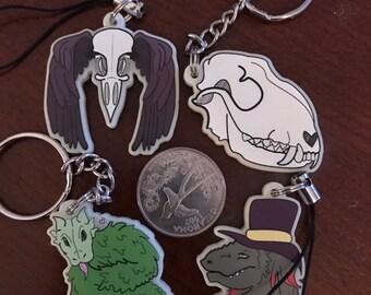 Dapper Raptor Glow in the dark Acrylic Keychain Charms - Fox skull, Raven Skull with Wings, Dragon noodle, Dapper Raptor