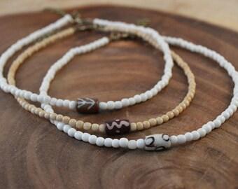 Choker Necklace, Bohemian Jewelry, Beaded Choker Necklace, Bone Necklace, Boho Necklace, Dainty Necklace, Minimalist Necklace