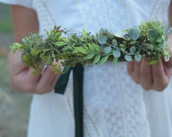 Mixed Greens Flower Crown - Greenery Floral Halo - Bridesmaid Crown - Assorted Greenery Halo - Photo Prop - Flower Girl Crown