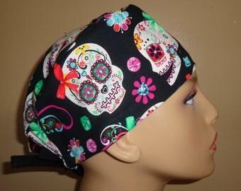 Skull Cap , Tie Back, sugar skull , bone ,