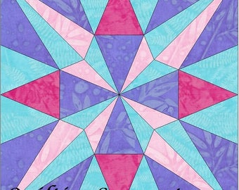 EQ Star 3 - 10 Inch Paper Piece Foundation Quilting Block Pattern PDF