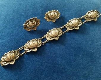 Vintage Danecraft Sterling Water Lily Bracelet, Danecraft Lotus Blossom Bracelet, Earrings