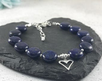 Lapis Lazuli Bracelet, Royal Blue Bracelet, September Birthstone Bracelet, Heart Charm Bracelet, new