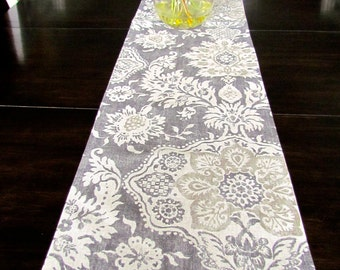 Superbe TABLE RUNNER 12 X 48 Gray Tan Modern Table Runners Wedding Showers  Decorative Gray TanTable Runner