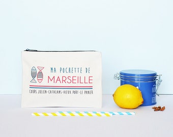 French Marseilles pouch - organic cotton