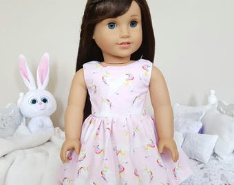 18 inch doll unicorn dress | pink party dress