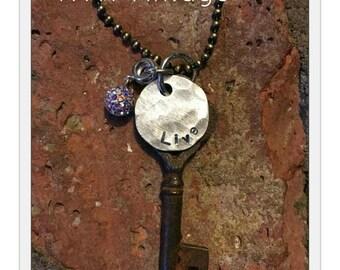 Antique Inspirational Skeleton Key Necklace - LIVE