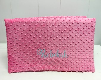Kindergarten Nap Mat with Mulit-Colored Fabric and Hot Pink Minky Dot