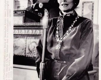 Vintage Wire photograph Grace Kelly (Princess Grace, Monaco) - Philadelphia dated: 1/8/75