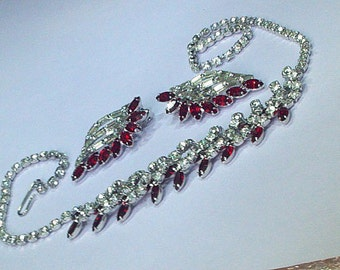 Sparkling Red and Clear Rhinestone Necklace and Earrings Set