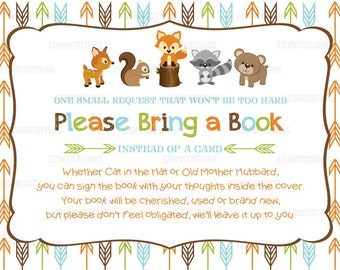 Woodland Animals Baby Shower Book Request Cards/ fox raccoon deer bear squirrel forest please bring a book shower invitation - PRINTABLE!!!