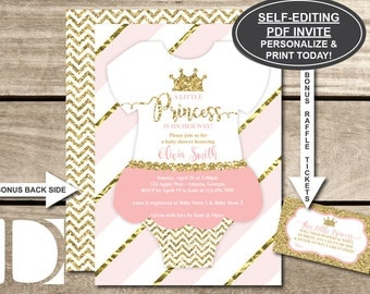 Little Princess Baby Shower Invitation, Onesie Invitation, Tutu, Pink, Gold, Glitter, Chevron, Self-Editing PDF Invite, BONUS Raffle Tickets